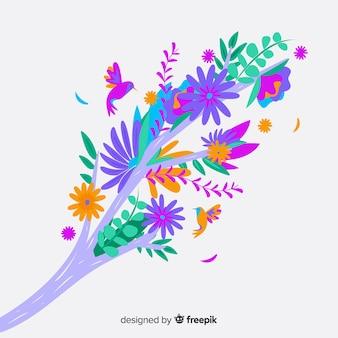 Красочная цветочная ветвь в плоском дизайне