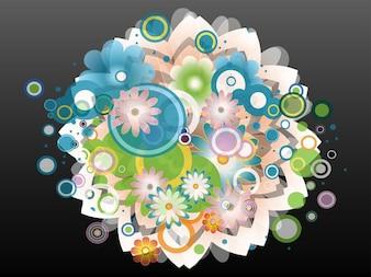 Colorful floral burst decoration vector