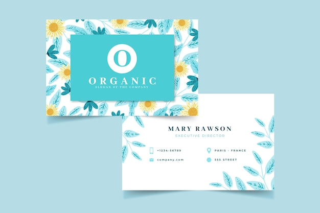 Colorful floral business card template