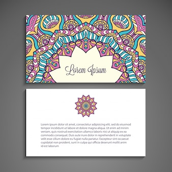 Colorful floral business card with mandala concept