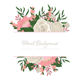 Colorful floral composition and banner for your text