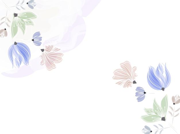 コピースペースで白い背景に飾られたカラフルな花。