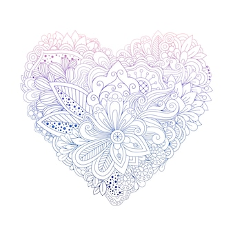 Colorful floral doodle heart shape on white
