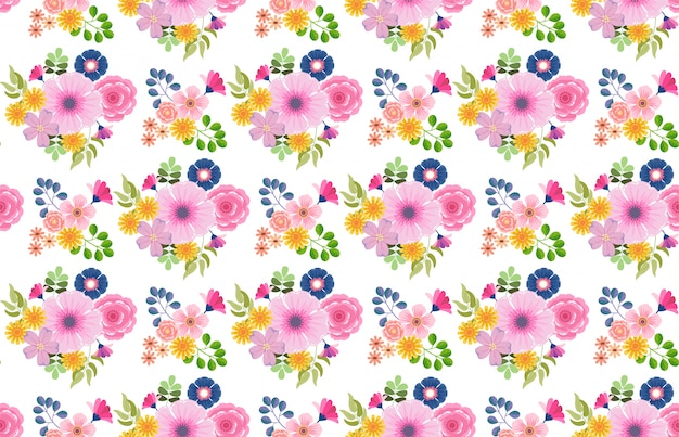 Colorful floral flower blooming pattern seamless  background