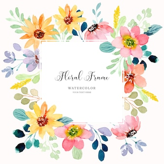 Colorful floral frame background with watercolor