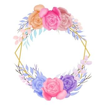 수채화와 화려한 꽃 프레임 디자인