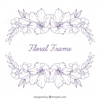 Colorful floral frame in hand drawn style