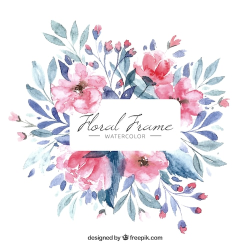 Colorful floral frame in watercolor style