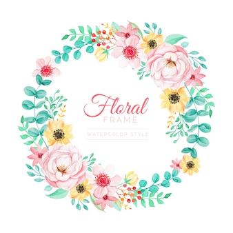 水彩スタイルのカラフルな花のフレーム