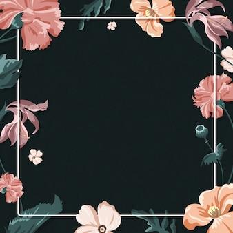 검정색 배경에 화려한 꽃 프레임