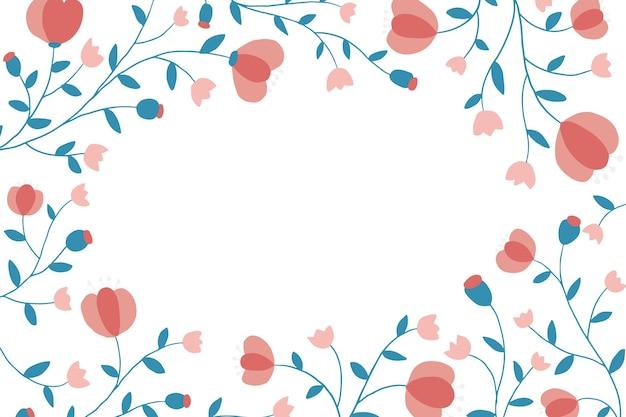 흰색 바탕에 화려한 꽃 프레임
