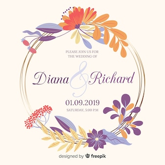 Colorful floral frame wedding invitation in flat design