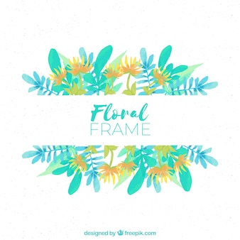 Colorful floral frame with leaves in watercolor style