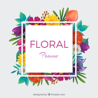Colorful floral frame with realistic style