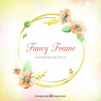 Colorful floral frame with watercolor style