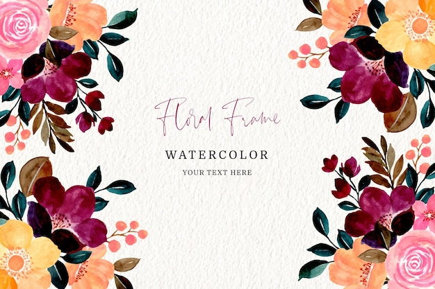 Colorful floral frame with watercolor