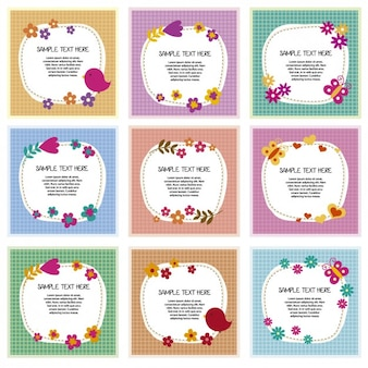 Colorful floral frames collection