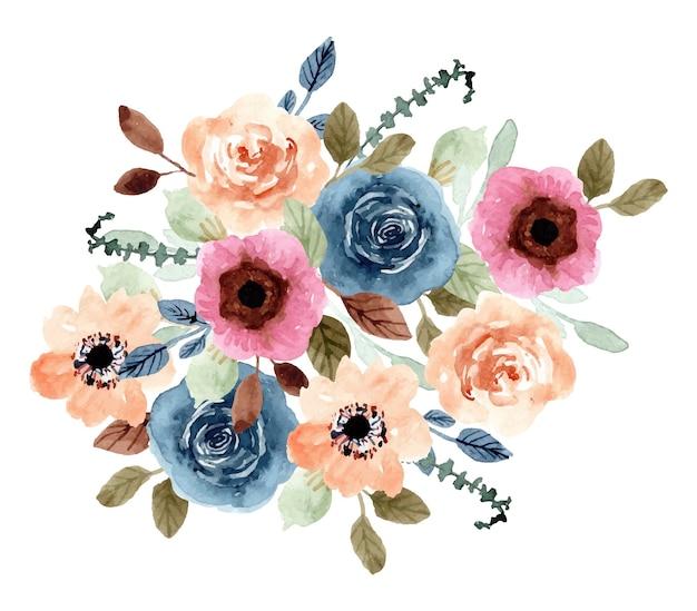 Красочный цветочный сад акварель букет