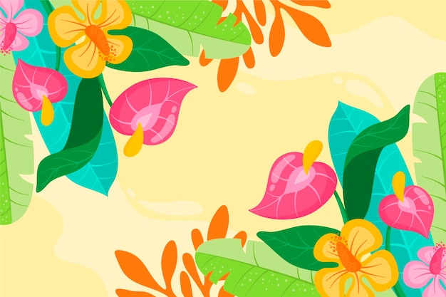 Colorful floral illustration watercolor