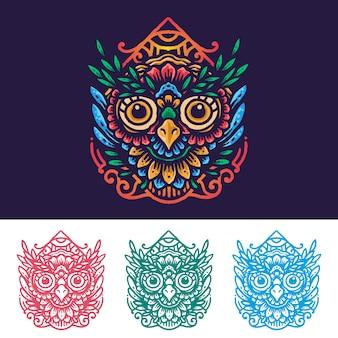 カラフルな花曼荼羅フクロウ