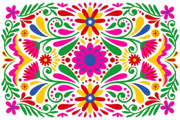Colorful floral mexican background