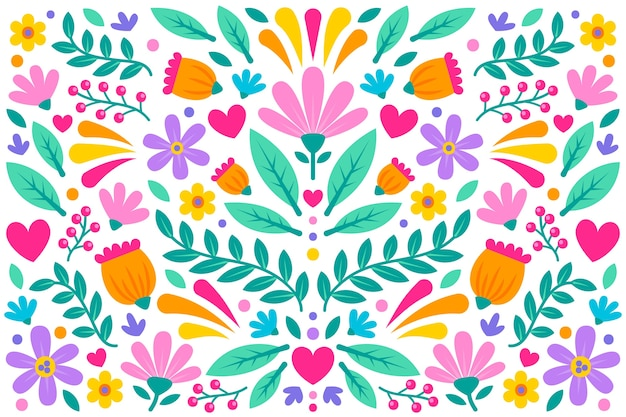 Colorful floral mexican wallpaper