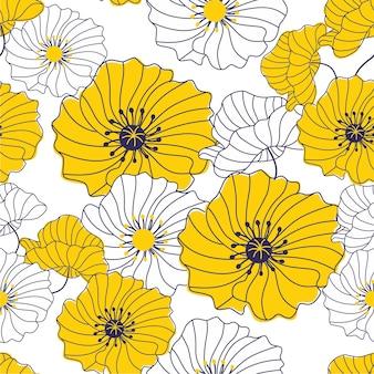 화려한 꽃 패턴입니다. 원활한 텍스처입니다.