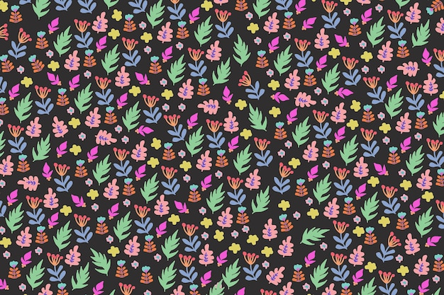 Colorful floral pattern wallpaper