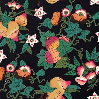 Elemento di design di sfondo con motivi floreali colorati