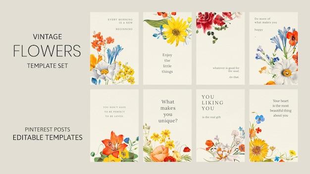 カラフルな花の引用テンプレートベクトルセット、パブリックドメインのアートワークからリミックス