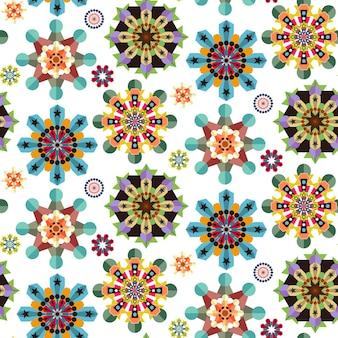 フラットなデザインのカラフルな花のシームレスなパターンの背景