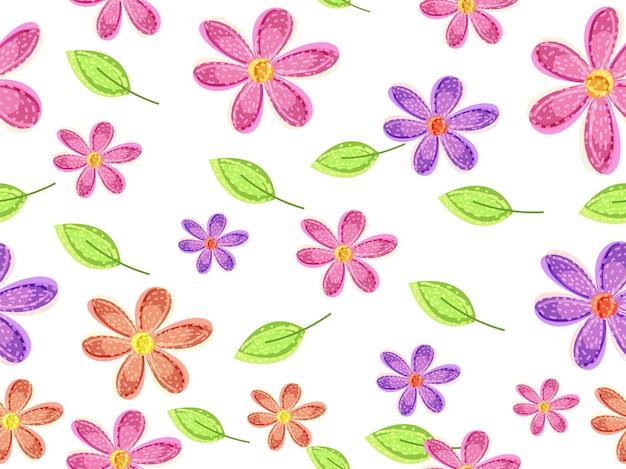 カラフルな花のシームレスなパターンの背景。