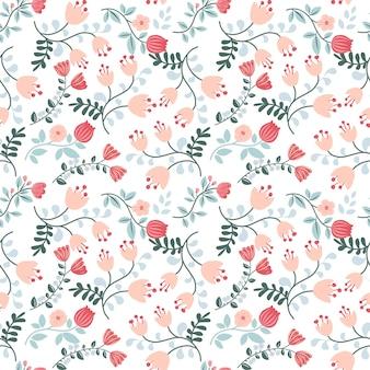 カラフルな花のシームレスなパターン白い背景の上のかわいいオレンジピンクブルーグリーンの花