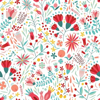 Colorful floral seamless pattern with berries, leaves and flowers on white background.