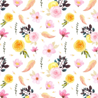 Colorful floral seamless pattern with gorgeous feather