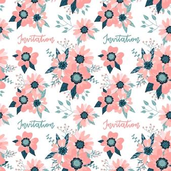 로즈 힙 꽃과 레터링 견적 화려한 꽃 원활한 패턴