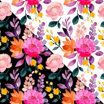 Colorful floral seamless pattern with watercolor