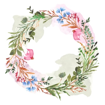 Colorful floral and splash watercolor wreath