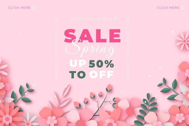 Красочная цветочная весенняя распродажа в бумажном стиле