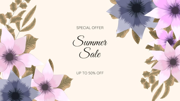 Colorful floral summer sale background flower template for banner