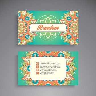 Colorful floral visiting card