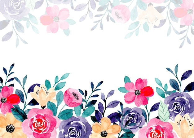 Colorful floral watercolor abstract background