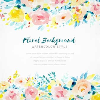 Colorful floral watercolor  background with roses