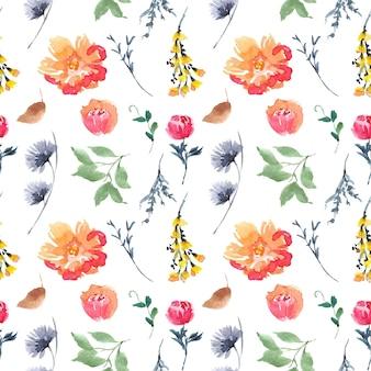 カラフルな花の水彩画のシームレスなパターン