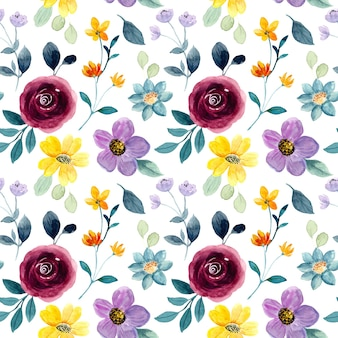 Colorful floral watercolor seamless pattern