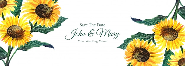 Colorful floral wedding banner in watercolor style