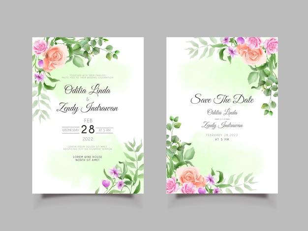 カラフルな花の結婚式の招待カードセットテンプレート
