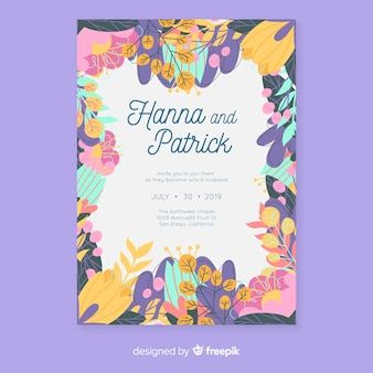 Colorful floral wedding invitation template in flat design