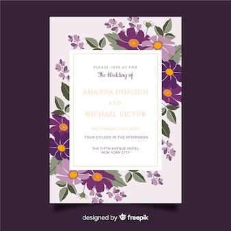 Colorful floral wedding invitation template