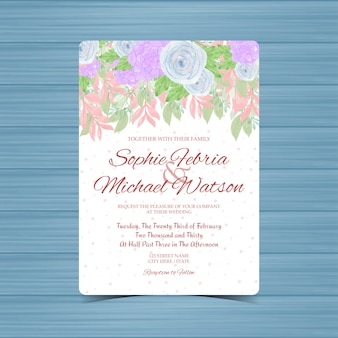Colorful floral wedding invitation with blue roses and succulent